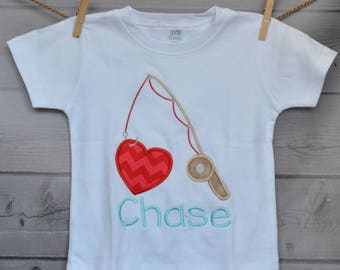 Personalized Valentine Fishing Pole with Heart Applique Shirt or Onesie Girl or Boy