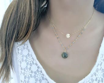 personalized labradorite necklace monogram initial necklace labradorite jewelry 14k gold filled letter labradorite rosary chain monogram