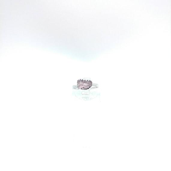 Raw Pink Tourmaline Ring | Sterling Silver Ring Sz 5.25  | Raw Tourmaline Ring | Raw Crystal Ring | Uncut Gemstone Ring