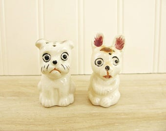 Vintage Dog Salt and Pepper Shakers Silly Dog Figurine Big Eye Dog Funny Dogs Pair of Dogs Big Eyed Dog Made In Japan