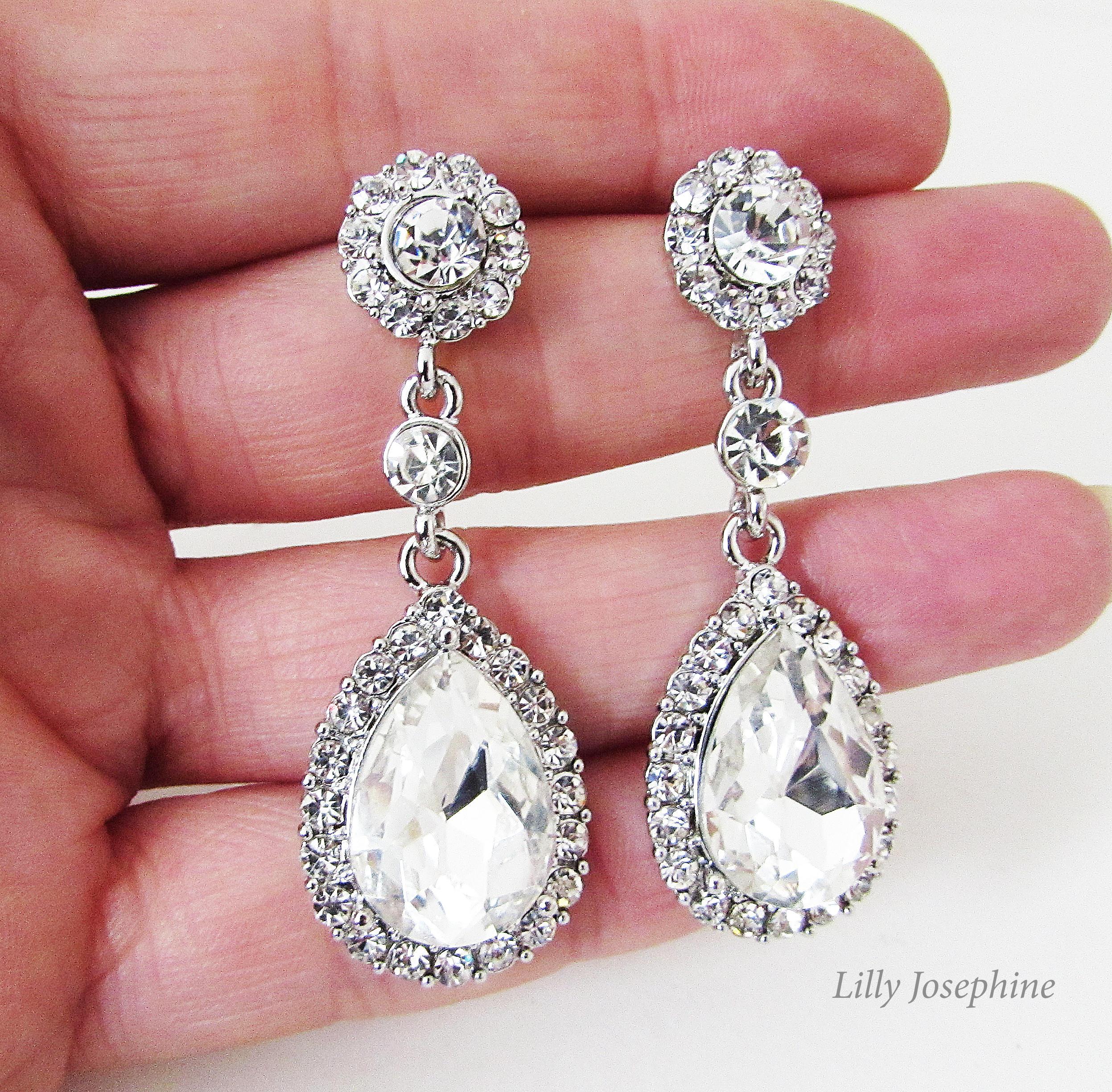 Long Rhinestone and Crystal Earrings Bridal Earrings Silver