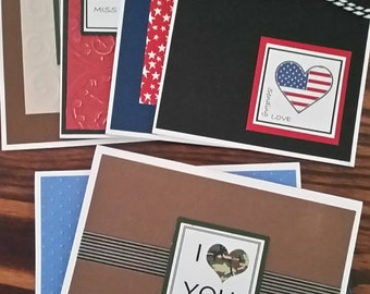 Military Greeting Card Set; Camo and Patriotic Handmade Cards; Missing You; Armed Services Greetings