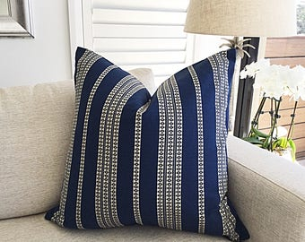 Striped Cushion Cover, Pillow Cover, Navy Blue Embroidered Nautical Stripe, Black and White Cushions Finnish Toss Pillows