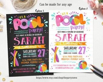 Girl Pool Party Birthday Invitation, Chalkboard Splish Splash Invite, Summer, Swimming, Beach ball, First Birthday, Personalized Printable