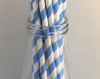 Sky Blue Stripe Paper Straws, Mason Jar Straws, Party Decor, Straws