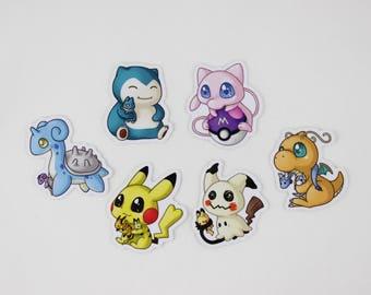 "Pokemon Dragonite, Mew, Pikachu, Snorlax, Mimikyu 2"" Vinyl Stickers"