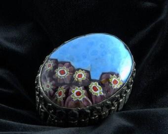 Vintage Trinket Box - Millefiori Glass - Pill Box - Treasure or Keepsake Box