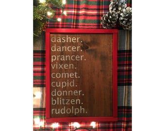 Framed Wood Reindeer Christmas Sign