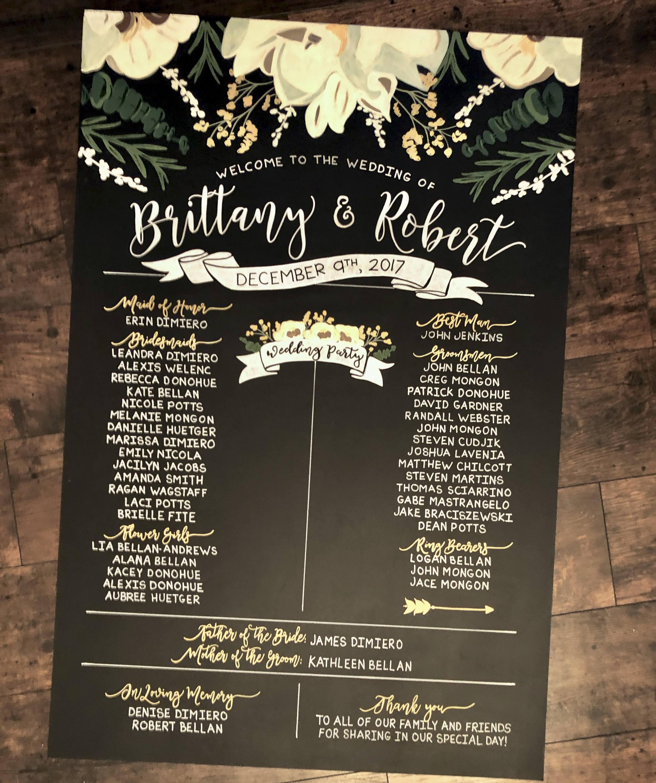 24x36 chalkboard wedding program ceremony sign