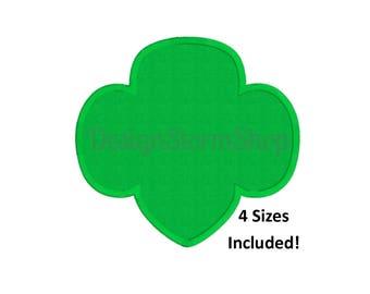 Scout Trefoil Embroidery Design/4 Sizes/Machine Applique/Instant Digital Download File/Girl