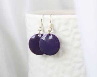 Earrings, earrings, enamel, purple enamel earrings, silver earrings, purple purple earrings
