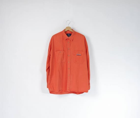 Peak Performance neon orange cotton shirt / size L