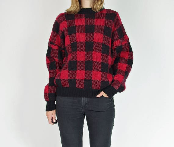 SALE! 80s Red black color block plaid boxy wool sweater