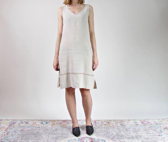 SALE! 90s Linen neutral beige dress / size L