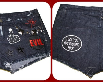 Gothic punk MISFIT studded distressed attitude cut off denim shorts HOT PANTS booty shorts
