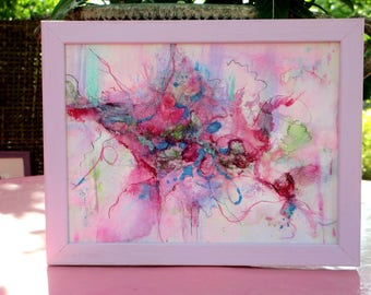 """Abstract original  painting small format on paper framed, 10,6 x 8,3 in, """"Matin d'été"""", mixed media painting: acrylic paint, felted fibers,"""