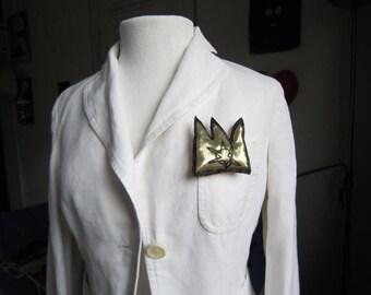 Crown brooch basquiat gold textile wearable urban jewelry pin artist love gift graffiti hip hop black music unisex gift birthday anniversary