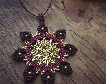 Flower of life necklace,macrame jewelry, Sacred geometry jewelry, Yoga necklace, Meditation Necklace, mandala necklace, bohemian pendent