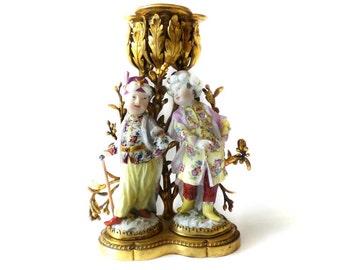 A Louis XV Ormolu Mounted MEISSEN Porcelain  Figural Candelabra by Kändler 18th Century RARE