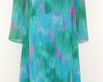Vintage 1970s Cowl Neck design dress in size 20