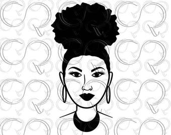 Black woman SVG Afro Puff SVG Afro clip art Afro cut design Afro cut file