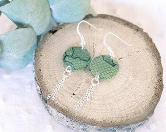 Boucles d'oreille vertes et dentelle - Argent 925