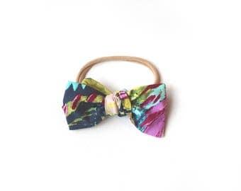 Purple, aqua, navy watercolor bow headband