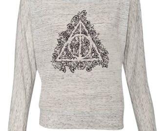Deathly Hallows Doodle Art, Harry Potter Fan Art, women's off shoulder long sleeve shirt, Geek Gift for her