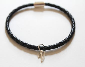 Leather Bracelet with Sterling Silver Cursive V Charm, Sterling Silver Cursive V Charm Bracelet, Leather V Charm Bracelet, V Charm Bracelet