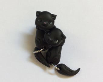 Earrings handmade polymer clay black kittens detachable head and body