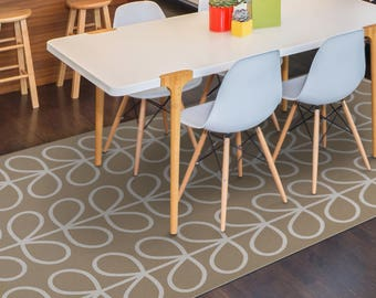 Vinyl Floor Mat Area Rug PVC Or Kitchen In Beige With Leaves