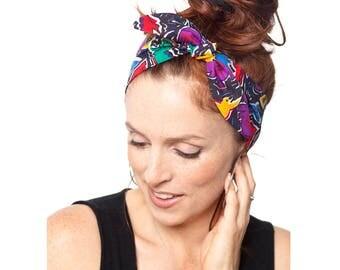 Tribal Headband - Animal Prints Black Headband Black Dolly Bow Naive Art Pinup Rockabilly Bandana Womens Hair Accessories Women's Fashion