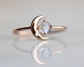 "14K ""Moon of My Life"" Moonstone & Diamond Ring, Moonstone, Diamond, Night Sky, Astrology Jewelry, Celestial, Crescent Moon, Moon and Star"