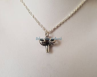 Small 3D Silver Uterus Anatomical Charm Necklace on Silver Crossed Chain or Black Faux Suede Cord. Female Anatomy, Reproductive Organ