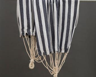 Woven Cotton Blue and White Striped Hammock