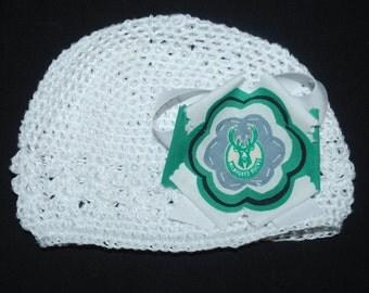 Milwaukee Bucks Fabric Flower Crochet Hat for Newborn
