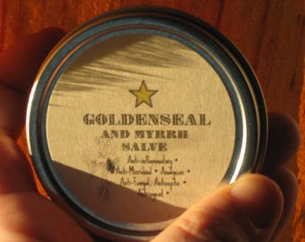 Goldenseal and Myrrh Salve.....Anti-Inflammatory, Anti-Microbial, Analgesic, Anti-Fungal, Antiseptic, and Astringent.....Natural First Aid