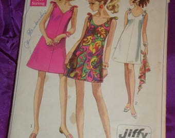 1960s 60s Vintage Mod A Line Dress V or Round Neck Tie Shoulders Mini or Above Knee CMPLT Simplicity Pattern 7671 Bust 34 US 87 Metric EASY