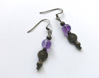 Purple Natural Amethyst Gemstone Dangle Earrings with Antique Finish Copper Wire