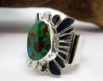 Pilot Mountain Turquoise and Sterling Silver Ring, Size 5-1/2.  Southwestern jewelry, modern jewelry, boho ring