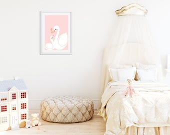 Mother & Baby Swan Wall Print {PINK}