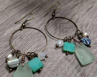 Seafoam seaglass, pearl abalone, and glass bead antiqued brass earrings