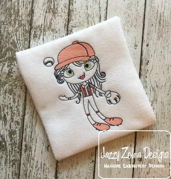 Swirly girl softball or baseball player sketch embroidery design - baseball embroidery design - softball embroidery design - sport - school