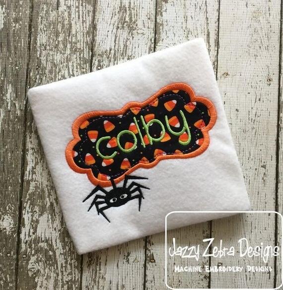 Spider Frame appliqué embroidery design - spider appliqué design - halloween appliqué design - monogram frame appliqué design - name