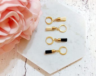 Jolly Tassel Collection | Minimalist Earrings, Suede Tassel Hoop Earrings, Hoop Earrings, Tassel Earrings, Gift for her, Sister Earrings