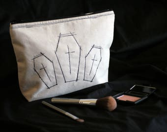 Embroidered Coffin Cosmetics Bag