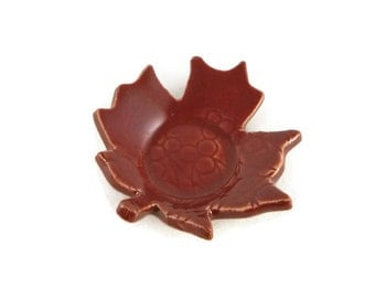 Maple Leaf Shaped Dish - spoon rest - incense holder - firebrick red dish - leaf pattern - red dish
