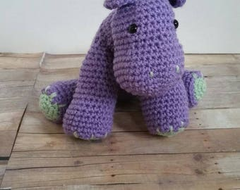 Purple Hippotamus Plush, Stuffed Animal, Crochet Hippo Amigurumi, Baby Soft Toy