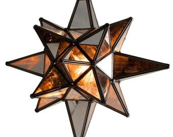 Star of Bethlehem, Moravian Star Pendant, Antique Mirror, Bronze Frame, 12x15