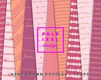 Hand Drawn Digital Papers // Seamless Line Patterns // Instant Download // Commercial Use